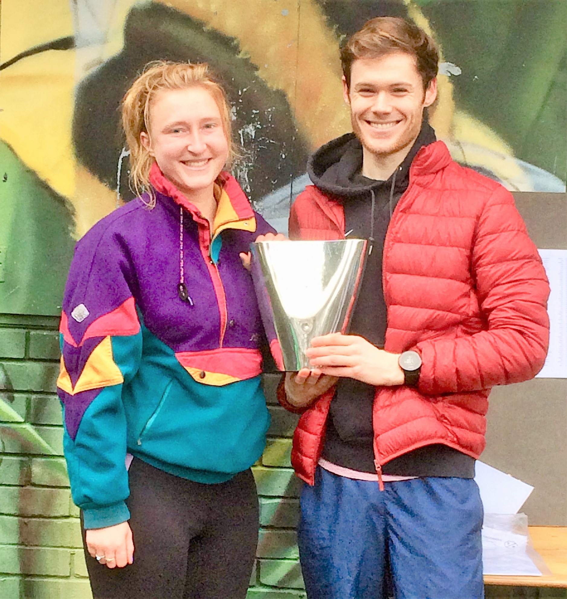 Helen Elkington and Will Gardner with Laurie Bradley Trophy 2019