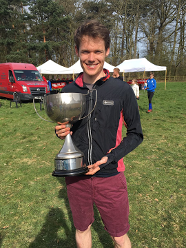 Will Gardner with M21 class Midland Championships Trophy 2017
